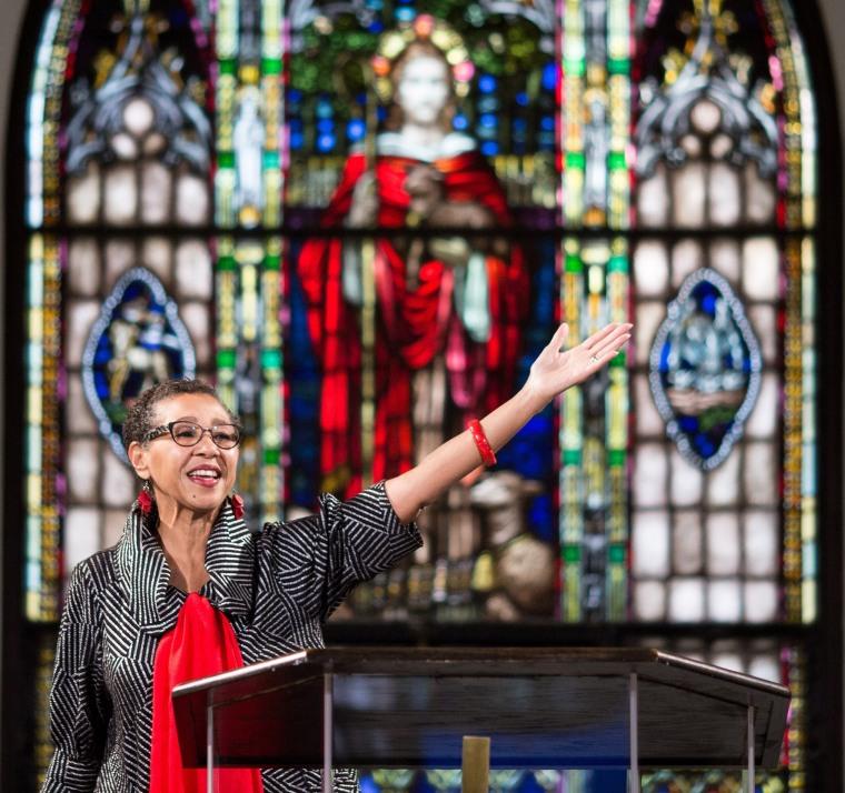 Image: Pastor Gloria White-Hammond officiates a Sunday service at Bethel AME Church
