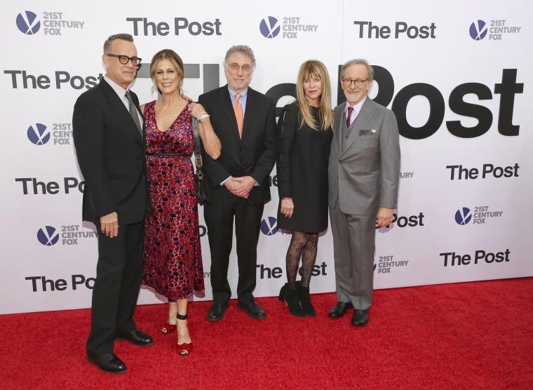 Image: Tom Hanks, Rita Wilson, Martin Baron, Kate Capshaw, Steven Spielberg
