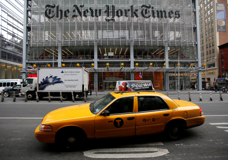 Image: The outside of The New York Times headquarters in New York
