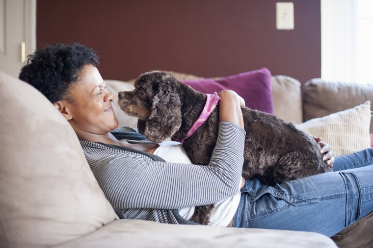 Image: Adult Woman Lounging on Couch with her Cocker Spaniel Dog on her Lap