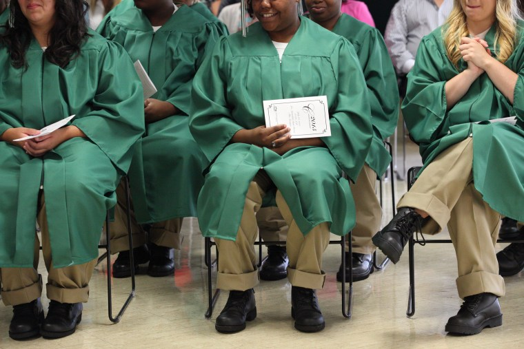 Image: Female inmates graduate from high school in prison