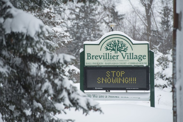 Image: Brevillier Village Episcopal Community leaves a plea for the snow to stop in Erie