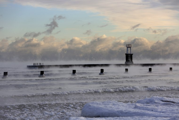 Image: Lake Michigan is steaming in the morning
