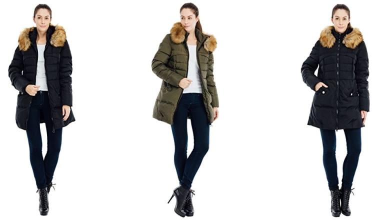 Down coat with varying colors and fur collar