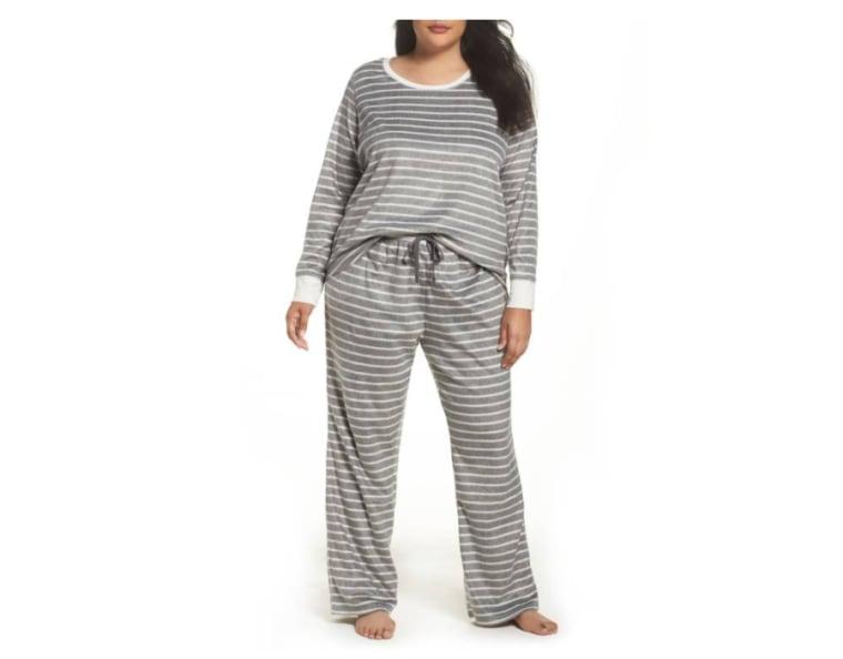 FLeece pajamas in grey stripe