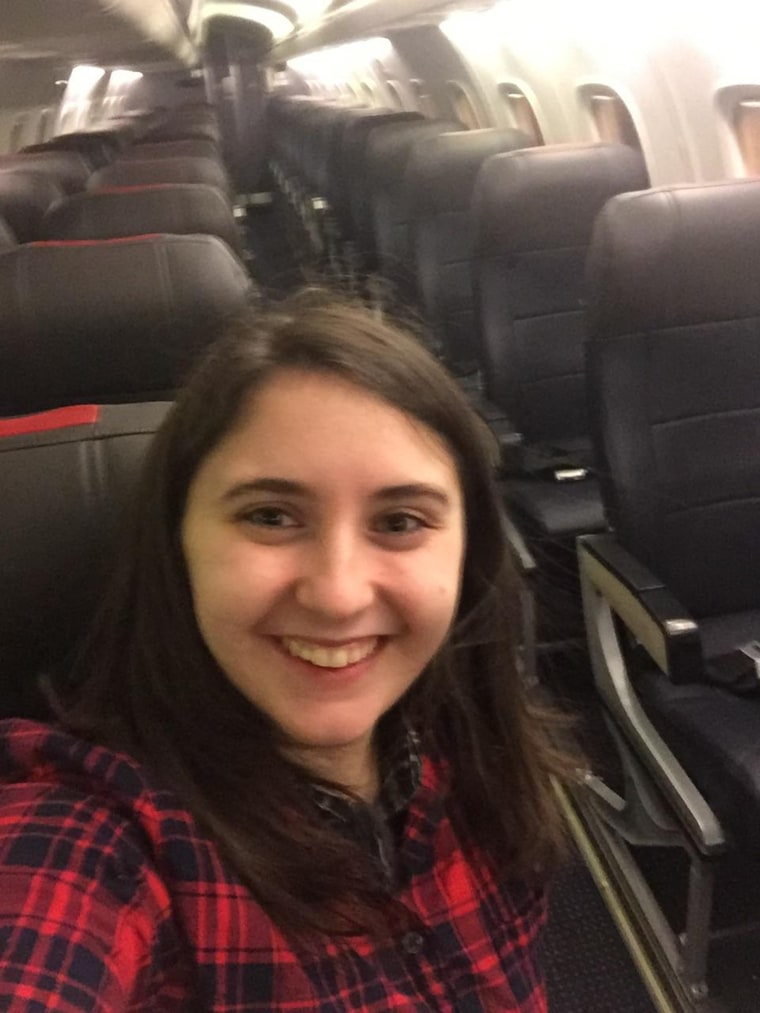 Woman on commercial flight all by herself