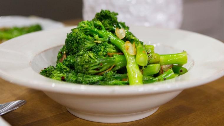 Laura Vitale's Parmesan Crusted Chicken Piccata + Garlic Broccolini