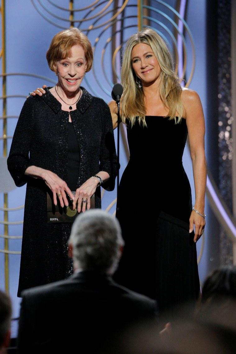 Image: Carol Burnett, Jennifer Aniston, presenters at the 75th Golden Globe Awards in Beverly Hills, California