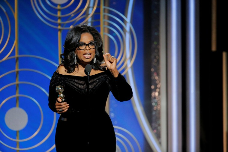 Oprah Winfrey speaks after accepting the Cecil B. Demille Award lifetime achievement