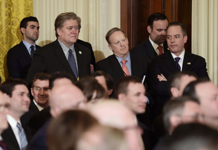 Image: Bannon, Spicer and Priebus attend an event at the White House