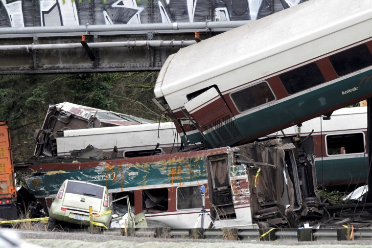 Image: The scene where an Amtrak passenger train derailed in DuPont