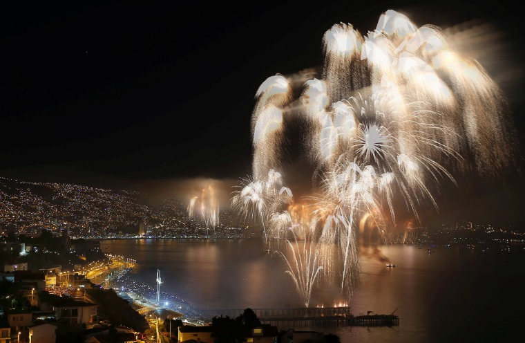 Image: Fireworks Explode To Celebrate The New Year in the Coastal City of Valparaiso