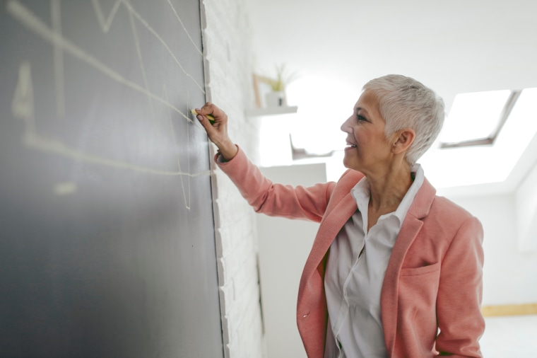 Businesswoman Drawing Chart On Blackboard In Her Office.