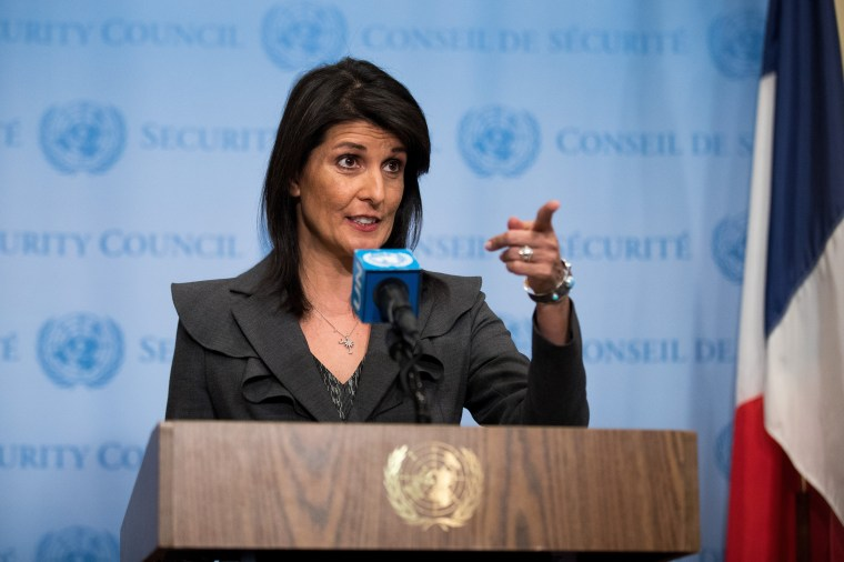 Image: UN Ambassador Nikki Haley Addresses Press On Protests In Iran And U.S. Relations With Pakistan