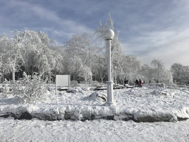 Image: Ice forms in the area surrounding Niagara Falls