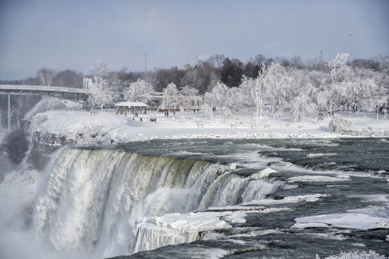 Image: A frozen Niagara Falls is seen from Stedman's Bluff on Goat Island