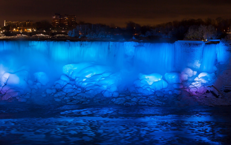 Image: Ice and water flow over the American Falls, viewed from the Canadian side in Niagara Falls