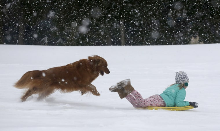 Image: Finley Bork, 7, sleds down a hill