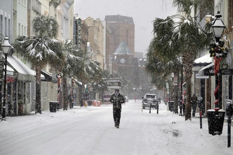 Image: Snow in King Street in Charleston, S.C.,