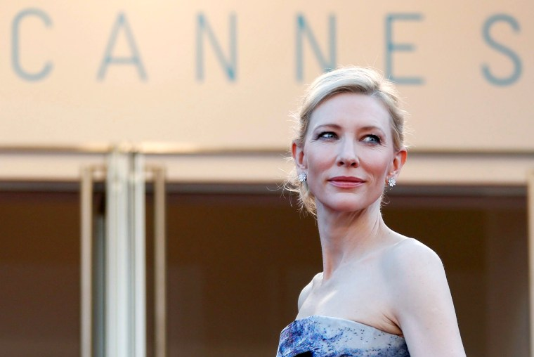 "Image: FILE PHOTO: Cast member Cate Blanchett poses on the red carpet as she arrives for the screening of the film ""Carol"" in competition at the 68th Cannes Film Festival in Cannes"