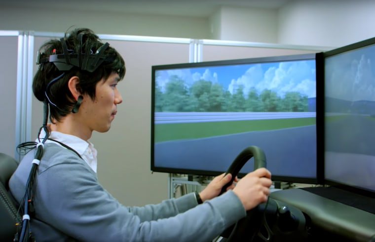Image: B2V uses an electrode-studded skullcap to monitor the driver's brain activity