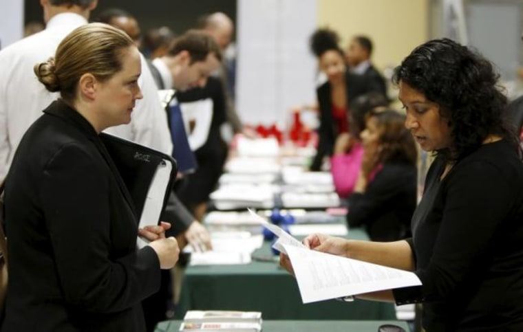 """Job applicant Rose is interviewed at a \""""Hiring Our Heroes\"""" military job fair in Washington"""