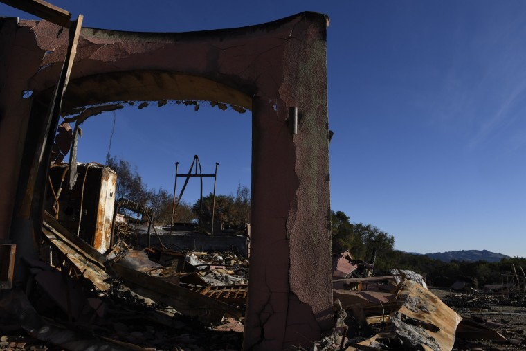 Structures at Paradise Ridge Winery damaged during the 2017 Tubbs Fire in Sonoma County, California.
