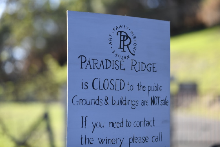 A sign at the site of the Paradise Ridge Winery after much of it burned down in the 2017 Tubbs fire.