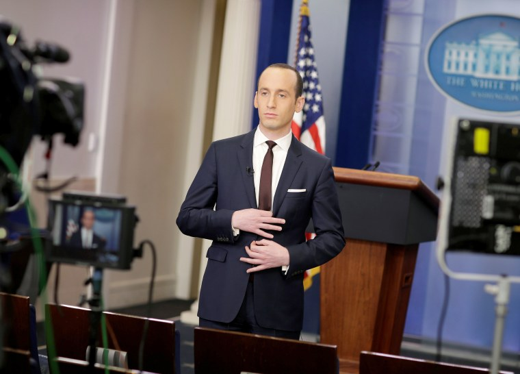 Image: Senior White House Advisor Stephen Miller waits to go on the air in the White House Briefing Room on Feb. 12, 2017.