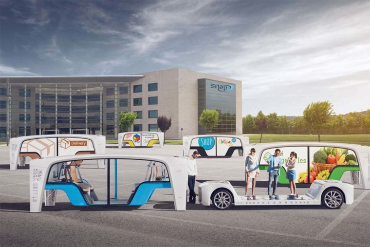 """Rinspeed imagines travel via an electrified, skateboard-style platform and interchangeable, Lego-like passenger pods that provide """"a breathtaking, fully connected user experience."""""""