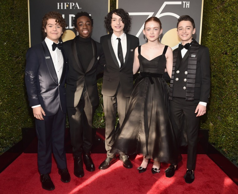 Image: The cast of Stranger Things,  Gaten Matarazzo, Caleb McLaughlin, Finn Wolfhard, Sadie Sink and Noah Schnapp
