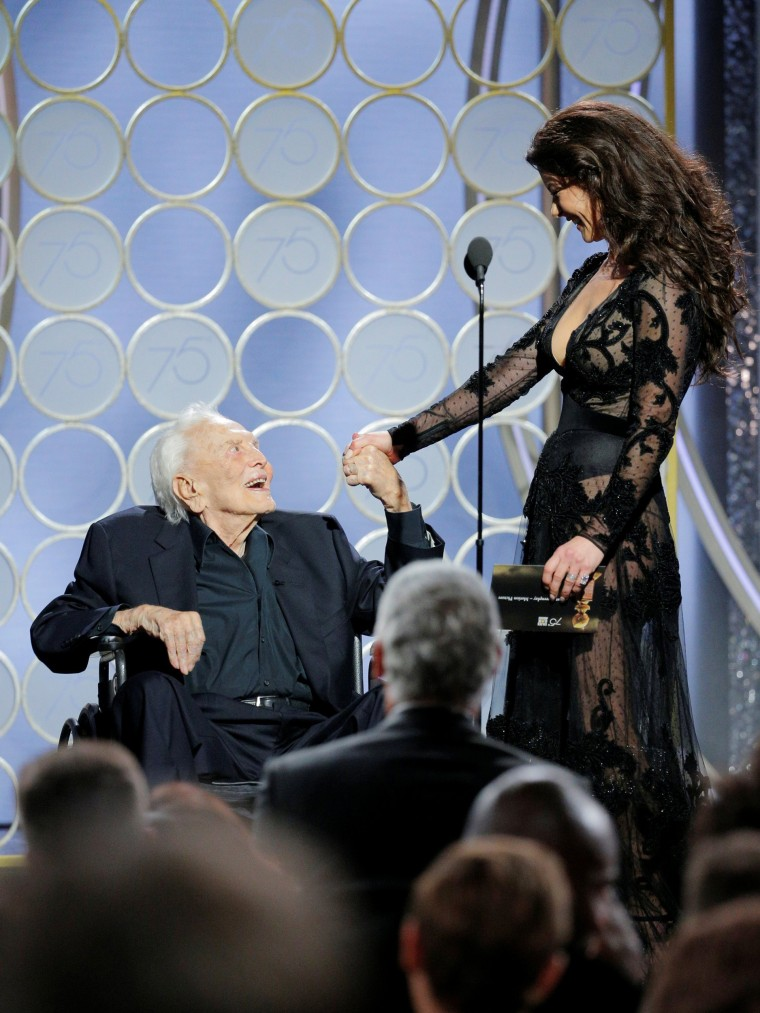 Image: Kirk Douglas and Catherine Zeta Jones at the 75th Golden Globe Awards in Beverly Hills, California