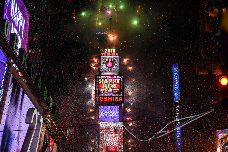 Image: Fireworks explode in Times Square on New Year's Eve on January 1, 2018.