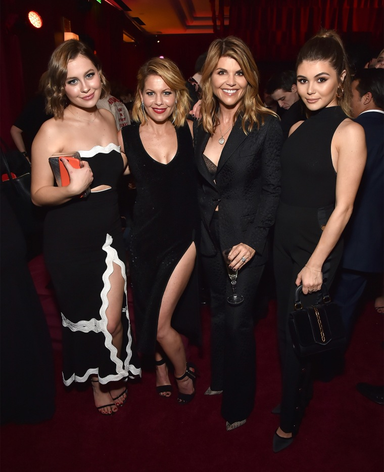 Natasha Bure, Candace Cameron-Bure, Lori Loughlin and Olivia Jade Giannulli attend the Netflix Golden Globes after party at Waldorf Astoria Beverly Hills on January 7, 2018.
