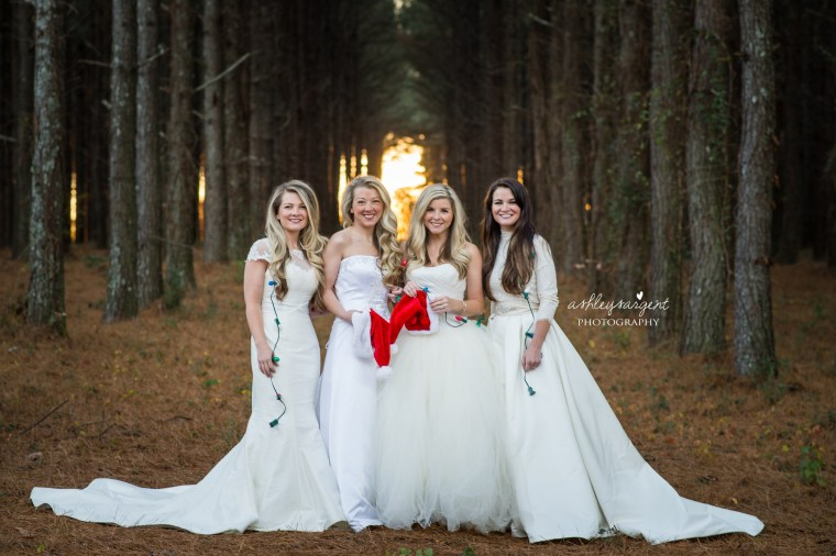 Four sisters pose for photo shoot in wedding gowns to surprise their proud mom