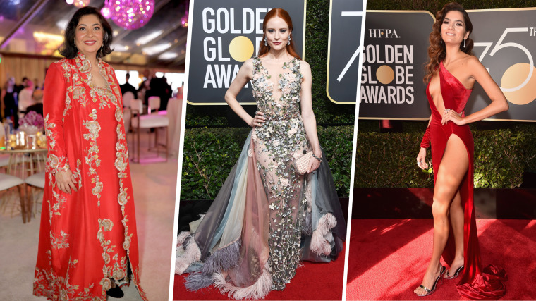 Meher Tatna, Barbara Meier and Blanca Blanco buck the trend at the 2018 Golden Globes.