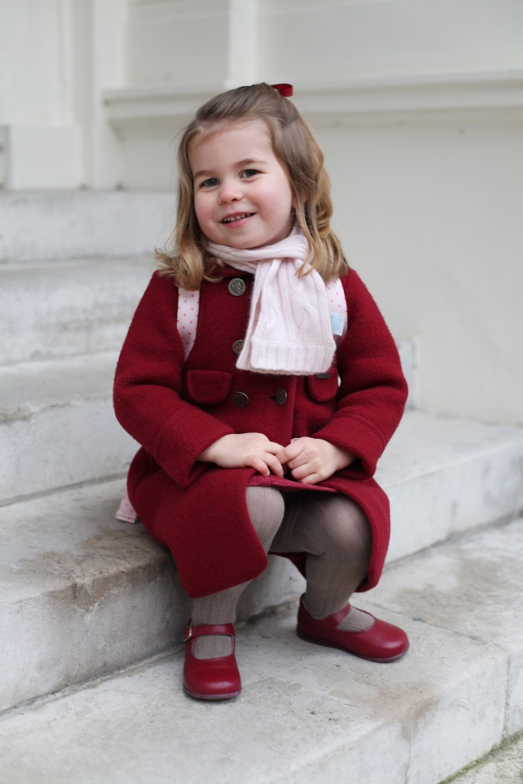 Britain's Princess Charlotte of Cambridge poses for a photo at Kensington Palace on January 8, 2018 before leaving for her first day of nursery at the Willcocks Nursery School.