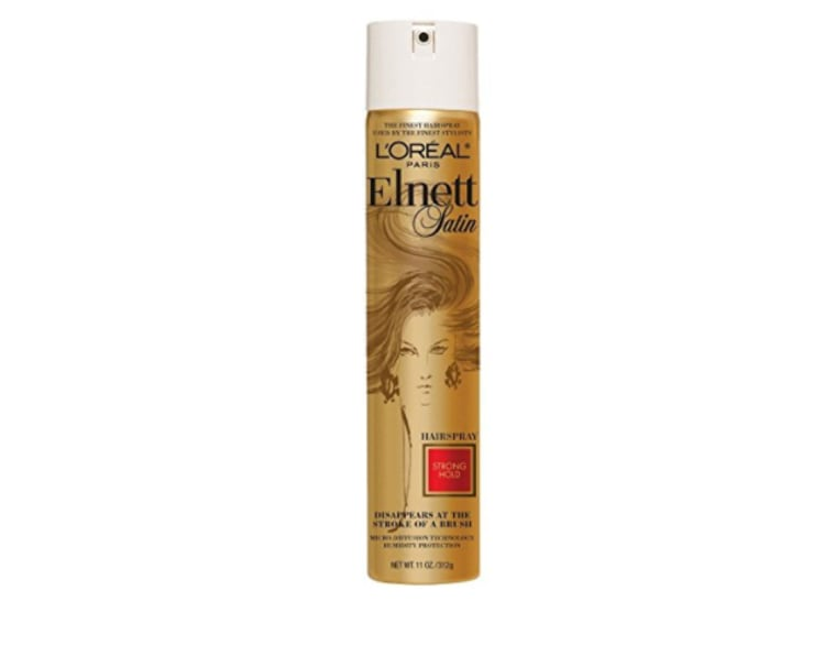 L'Oreal Satin Strong Hold Hairspray in gold bottle