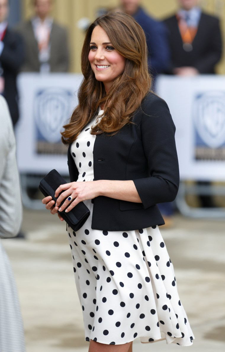 Catherine, Duchess of Cambridge arrives to attend the Inauguration of Warner Bros. Studios Leavesden on April 26, 2013 in London.