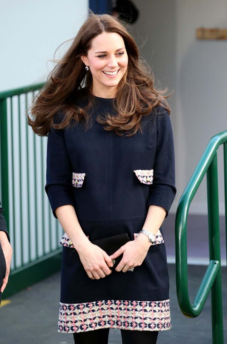 Catherine, Duchess of Cambridge smiles as she leaves Barlby Primary School on January 15, 2015 in London, England.