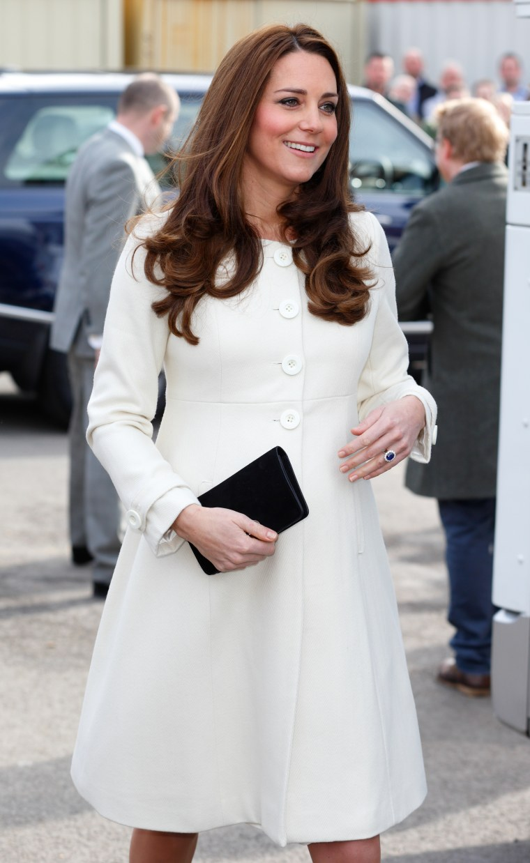 "Catherine, Duchess of Cambridge visits the set of ""Downton Abbey"" at Ealing Studios on March 12, 2015 in London."
