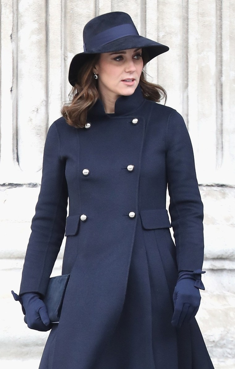 Catherine, Duchess of Cambridge leaves the Grenfell Tower National Memorial Service held at St Paul's Cathedral on December 14, 2017 in London, England.