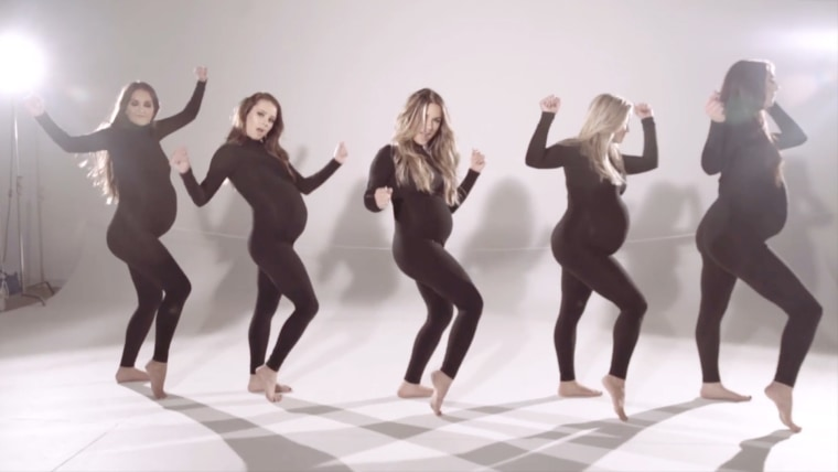 "Jesse James Decker takes on a Beyoncé-style video with four other pregnant dancers in ""Flip My Hair."""