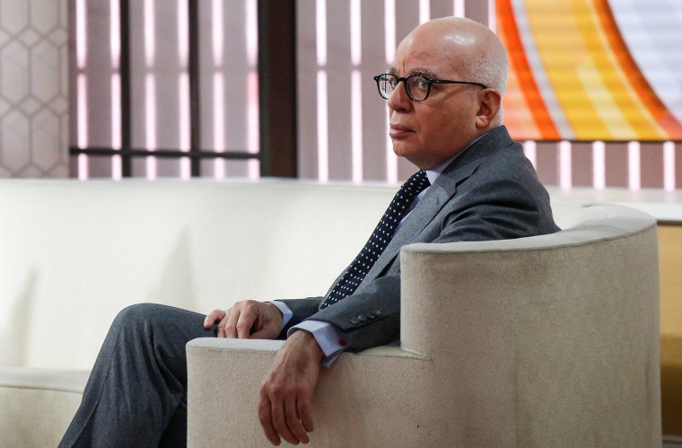 """Image: Author Michael Wolff is seen on the set of NBC's 'Today' show prior to an interview about his book \""""Fire and Fury: Inside the Trump White House\"""" in New York"""
