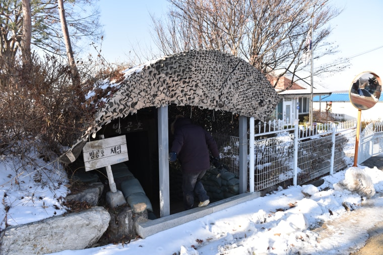 Image: An old bomb shelter in the center of Tongil Chon, South Korea
