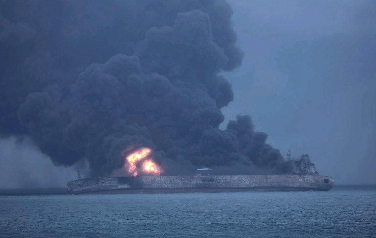 Image: The Sanchi burns off China's eastern coast on Jan. 7, 20718