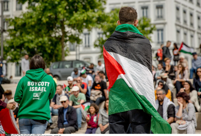 Image: An activist draped in the Palestinian flag