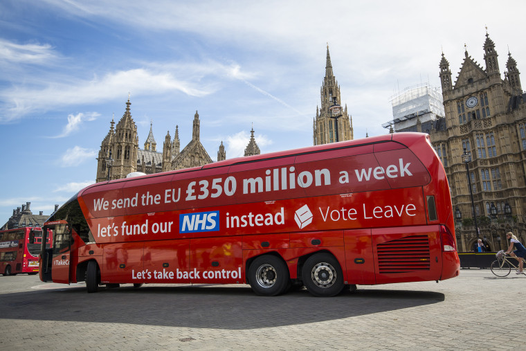 "Image: A ""Leave"" campaign bus"