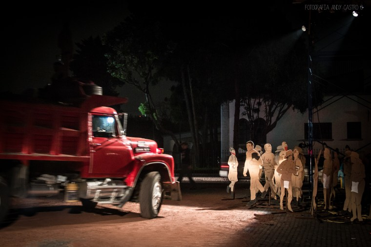 "A photograph of Mexico-based Teatro Linea de Sombra's performance piece,""Durango 66."""