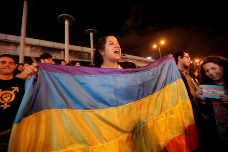 People celebrate in San Jose after the Inter-American Court of Human Rights called on Costa Rica and Latin America to recognize equal marriage